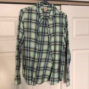 Very pretty plaid shirt. Mint green, blue & white!